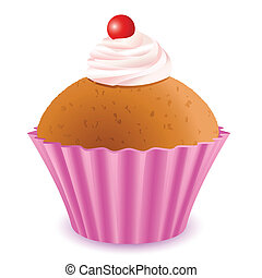 Yummy Cup Cake - illustration of yummy cup cake with cherry...