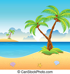 Se Beach View - illustration of palm tree on sea beach with...