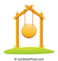 Hanging Wooden Board - illustration of hanging wooden board...