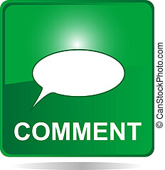 comment web button green with bubbles - comment green web...