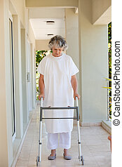 Senior woman with her zimmer frame