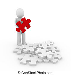 3d human red puzzle - 3d human puzzle red business white...