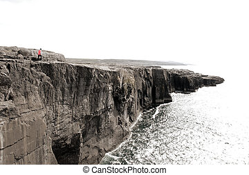 lone person on cliffs edge - lone person on the cliffs edge...