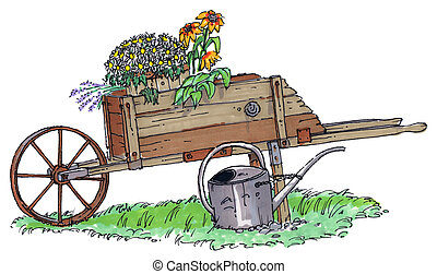 old wheel barrow - An old fashioned wooden wheel barrow with...