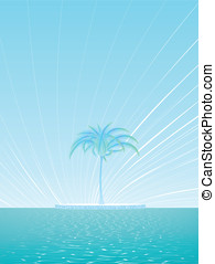 Island of a lonely palm tree background - Fantasy ocean...