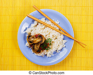 Cooked rice with mushrooms