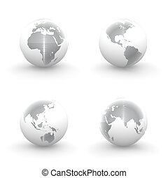 3D Globes in White and Brushed Metal - four views of a 3D...