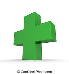 Solid Shiny Green Cross - shiny green 3d symbol of a cross