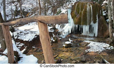 waterfall in winter - waterfall Silver stream in winter....