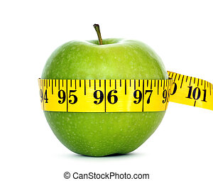 weight loss - green apple with measure tape
