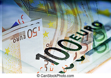 euro bills - close up of some 100 and 50 euro bills