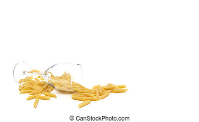 Pasta Glass 2 - A glass of wine with pastas on a white...