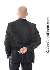 businessman with crossed fingers at back - Liar businessman...