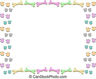 Frame with Pastel Bones and Paws