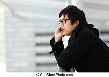 Businessman talking on his cellphone