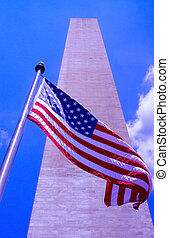 American flag at the Washington Monument