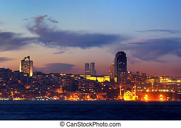 Istanbul in night - Kabatas - Dolmabahce region in night