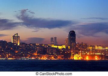 Istanbul in night - Kabatas - Dolmabahce region in night