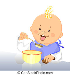 vector baby eats with a spoon from a bowl - vector cute baby...