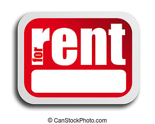 For Rent - Red poster for rent over white background....