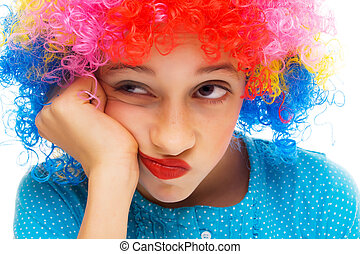 Young girl with party wig - Beautiful young girl with party...