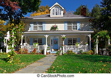 Single Family House Pastel Prairie Style Autumn - Tidy...