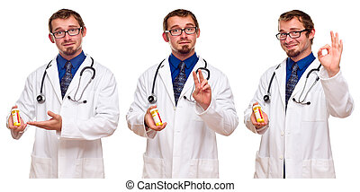 Set of Three Male Doctors with Prescription Bottle - Triple...