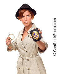 Red Haired Female Detective With Handcuffs and Badge In Trenchcoat Isolated on a White Background.