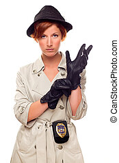 Red Haired Female Detective Putting on Gloves Wearing a Badge, Trenchcoat and Hat Isolated on a White Background.