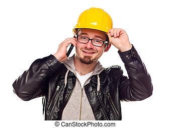 努力, 年輕, 電話, 漂亮, 帽子, 人