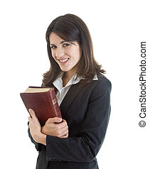 Smiling Woman Holding Bible Closely Isolated White - Smiling...
