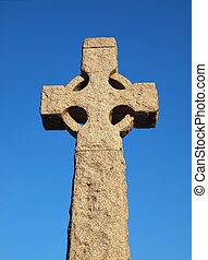 Stone Cross - Stone cross on clear blue sky