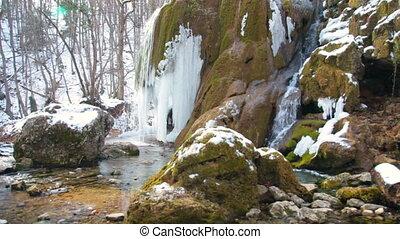 waterfall in winter - waterfall Silver stream in winter....