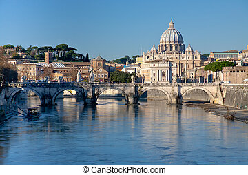 view on St Peter Basilica - view on Tiber and St Peter...