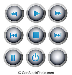 Buttons - Several buttons with the symbols of music and...