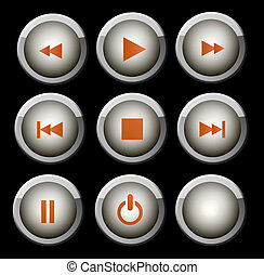 Buttons - A set of glossy gray and orange web icons for use...