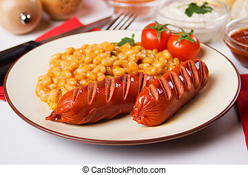 Sausage and beans - Grilled suasage and white beans,...