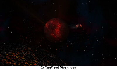 Lava Planet with Sun & Meteor - Burning Hot Lava Planet with...