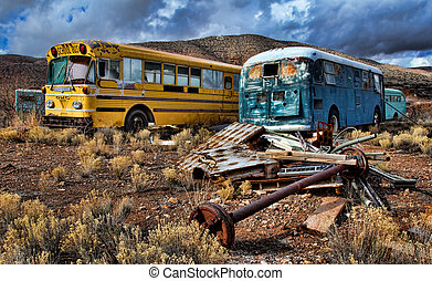 Derelict Buses in Desert - Two derelict buses in Arizona...