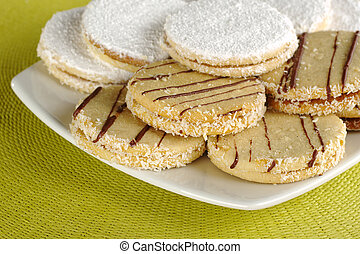 """Peruvian cookies called """"alfajor"""", which are filled with a..."""