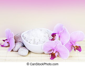 Spa Still Life with Pink Orchids Square