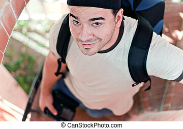 Young Traveling Photographer - A young photographer in his...