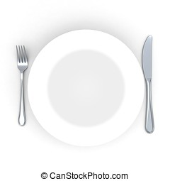 3d Place setting with plate, knife and fork isolated on...
