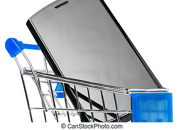 phone in shopping cart - modern touch screen phone in...