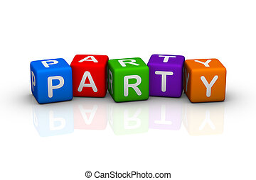 party colorful buzzword cubes series