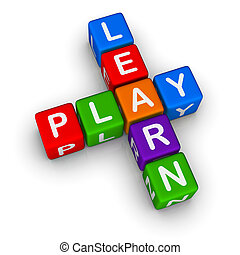 Learn and Play colorful blocks on white background