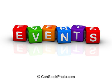 events buzzword colorful cubes series