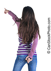 Beautiful young woman  pointing at wall. Rear view.