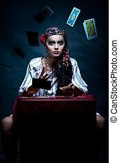 fortuna, cigana, Jogar,  tarot, Retrato, caixa, Cartões