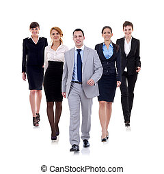 business man walking and leading his team